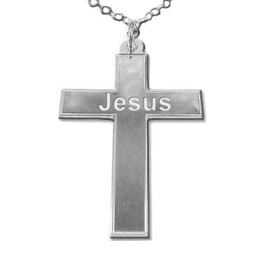 Kruis ketting met naam zilver