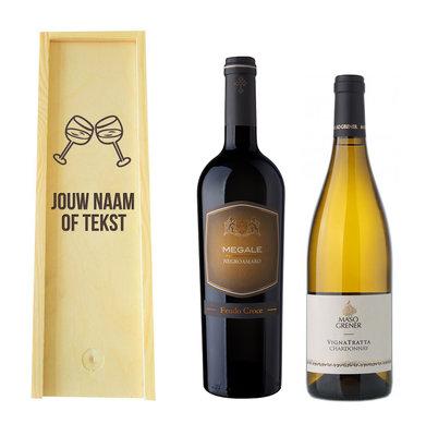 Wijnkist met wijn graveren